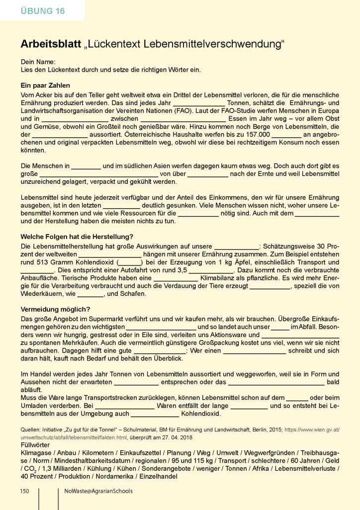 Arbeitsblatt Übung 16_Lückentext Lebensmittelverschwendung